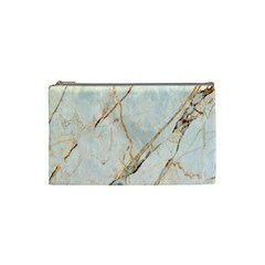 Marble Texture White Pattern Surface Effect Cosmetic Bag (small)