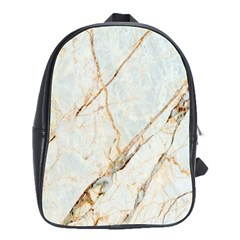 Marble Texture White Pattern Surface Effect School Bag (large)