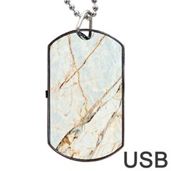 Marble Texture White Pattern Surface Effect Dog Tag Usb Flash (two Sides)