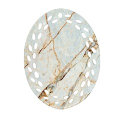 Marble Texture White Pattern Surface Effect Oval Filigree Ornament (two Sides)