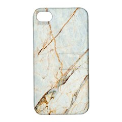 Marble Texture White Pattern Surface Effect Apple Iphone 4/4s Hardshell Case With Stand