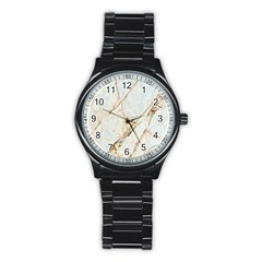 Marble Texture White Pattern Surface Effect Stainless Steel Round Watch