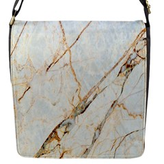 Marble Texture White Pattern Surface Effect Flap Messenger Bag (s)