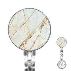 Marble Texture White Pattern Surface Effect Stainless Steel Nurses Watch