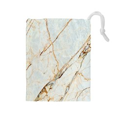 Marble Texture White Pattern Surface Effect Drawstring Pouches (large)