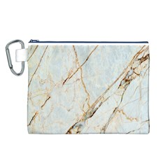 Marble Texture White Pattern Surface Effect Canvas Cosmetic Bag (l)