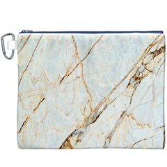 Marble Texture White Pattern Surface Effect Canvas Cosmetic Bag (xxxl)