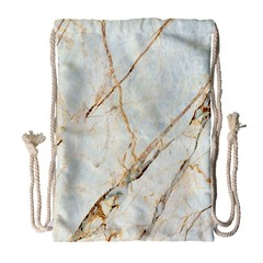 Marble Texture White Pattern Surface Effect Drawstring Bag (large)