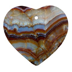 Wall Marble Pattern Texture Heart Ornament (two Sides)