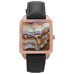 Wall Marble Pattern Texture Rose Gold Leather Watch