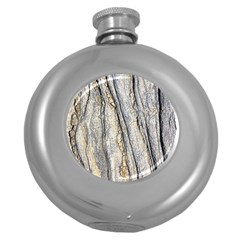 Texture Structure Marble Surface Background Round Hip Flask (5 Oz)