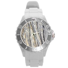 Texture Structure Marble Surface Background Round Plastic Sport Watch (l)