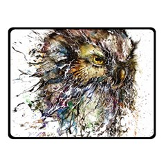 Angry And Colourful Owl T Shirt Double Sided Fleece Blanket (small)