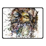Angry And Colourful Owl T Shirt Double Sided Fleece Blanket (Small)  50 x40 Blanket Front