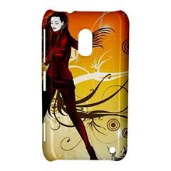 Girl Autumn Grass  Nokia Lumia 620