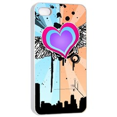 Couple Hugging Heart Apple Iphone 4/4s Seamless Case (white)