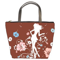 Girl Flowers Silhouette  Bucket Bags