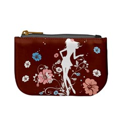Girl Flowers Silhouette  Mini Coin Purses