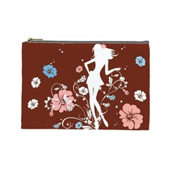 Girl Flowers Silhouette  Cosmetic Bag (large)