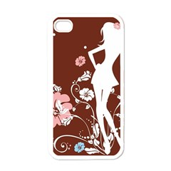 Girl Flowers Silhouette  Apple Iphone 4 Case (white)
