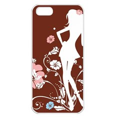Girl Flowers Silhouette  Apple Iphone 5 Seamless Case (white)