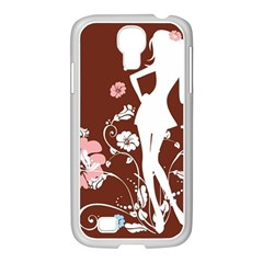 Girl Flowers Silhouette  Samsung Galaxy S4 I9500/ I9505 Case (white)