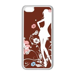 Girl Flowers Silhouette  Apple Iphone 5c Seamless Case (white)