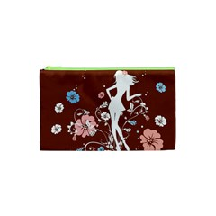 Girl Flowers Silhouette  Cosmetic Bag (xs)