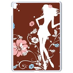 Girl Flowers Silhouette  Apple Ipad Pro 9 7   White Seamless Case