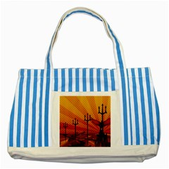 Wings Drawing Poles  Striped Blue Tote Bag