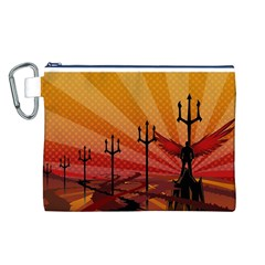 Wings Drawing Poles  Canvas Cosmetic Bag (l)