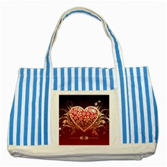 Heart Patterns Lines  Striped Blue Tote Bag