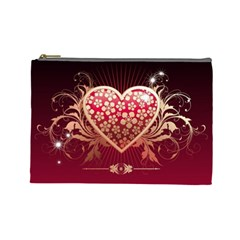 Heart Patterns Lines  Cosmetic Bag (large)