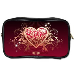 Heart Patterns Lines  Toiletries Bags 2 Side