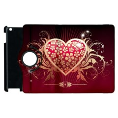 Heart Patterns Lines  Apple Ipad 2 Flip 360 Case