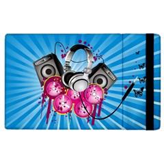 Speakers Headphones Colorful  Apple Ipad 2 Flip Case