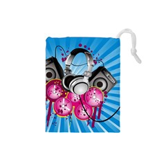 Speakers Headphones Colorful  Drawstring Pouches (small)
