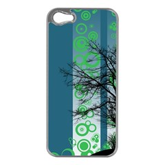 Tree Circles Lines  Apple Iphone 5 Case (silver)
