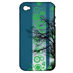 Tree Circles Lines  Apple Iphone 4/4s Hardshell Case (pc+silicone)