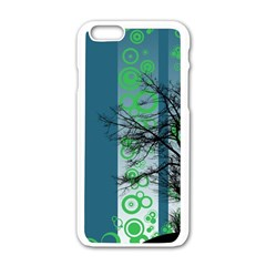 Tree Circles Lines  Apple Iphone 6/6s White Enamel Case
