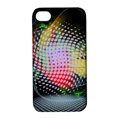 Colorful Lines Dots  Apple Iphone 4/4s Hardshell Case With Stand