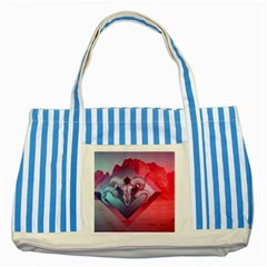 Horns Background Cube  Striped Blue Tote Bag