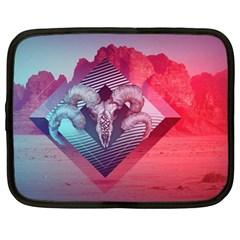 Horns Background Cube  Netbook Case (large)