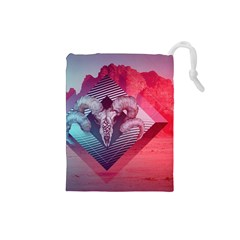 Horns Background Cube  Drawstring Pouches (small)