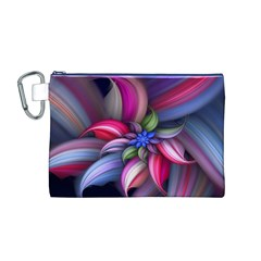 Flower Rotation Form  Canvas Cosmetic Bag (m)