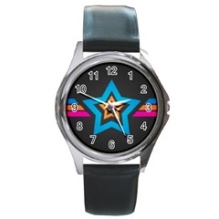 Star Background Colorful  Round Metal Watch