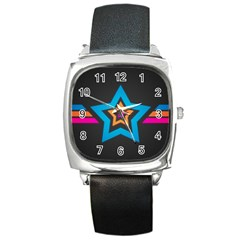 Star Background Colorful  Square Metal Watch