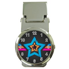 Star Background Colorful  Money Clip Watches