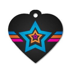 Star Background Colorful  Dog Tag Heart (two Sides)