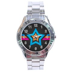 Star Background Colorful  Stainless Steel Analogue Watch
